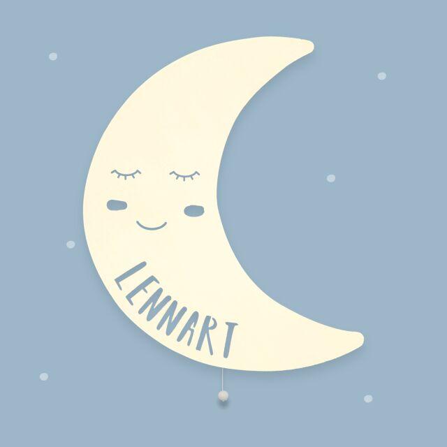 """Nachtlicht """"Milo der Mond"""" personalisiert für Baby und Kind"""