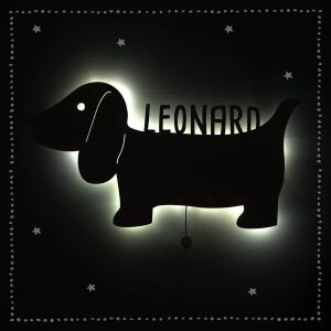 """Night light """"David the Dachshund"""" personalized for baby and child"""