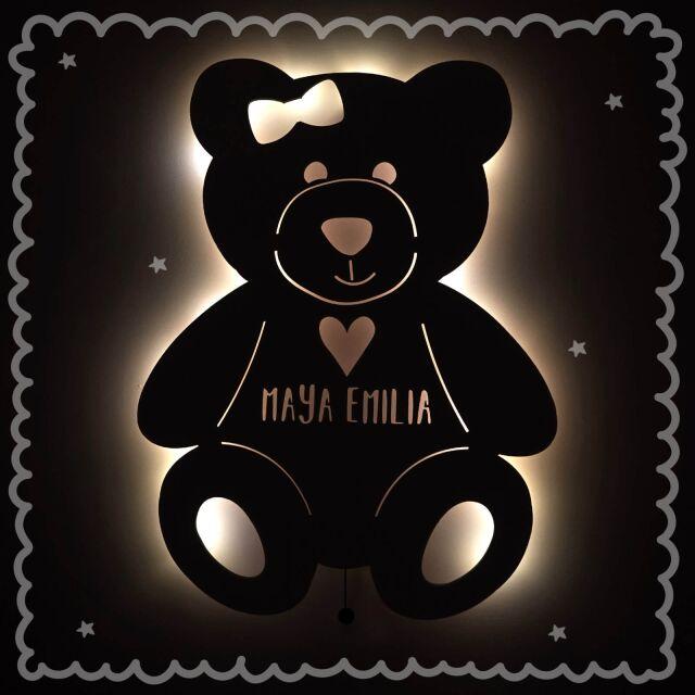 """Nachtlicht """"Tilda der Teddy mit Herz"""" personalisiert für Baby und Kind"""
