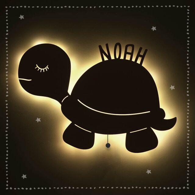 """Nachtlicht """"Simon die Schildkröte"""" personalisiert für Baby und Kind"""