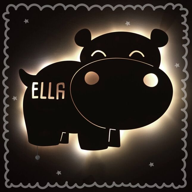 Night light Nilo the hippo personalized for baby and child