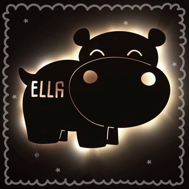 """Nachtlicht """"Nilo das Nilpferd"""" personalisiert für Baby und Kind"""
