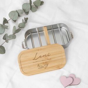 """Lunchbox """"Leaves"""" personalized for children Metal box with bamboo lid"""