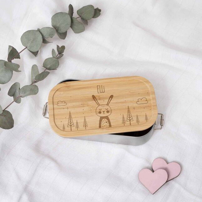 Lunch box Rabbit personalized for children Metal box with bamboo lid