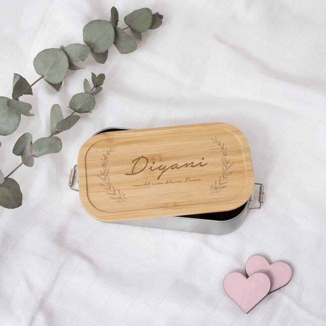 Lunchbox Plant personalized for children Metal box with bamboo lid