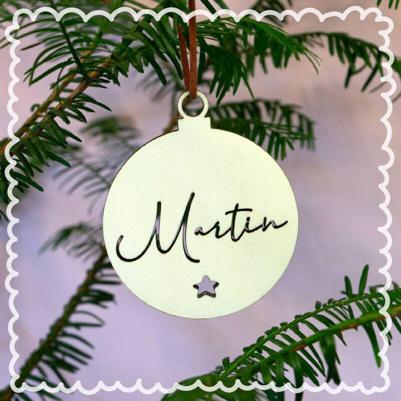 personalisierte Spiegel Ornament-Weihnachtskugel mit Sternen und Namen Farbe w/ählbar
