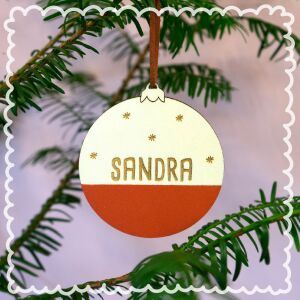 """Christmas bauble """"half half"""" Set of 3 personalized with your desired names"""