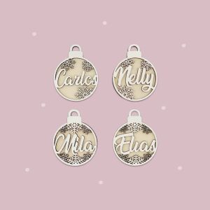"""Christmas bauble """"2D"""" Set of 4 personalized..."""