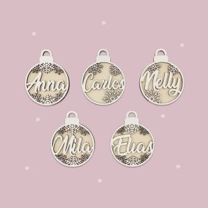 """Christmas bauble """"2D"""" Set of 5 personalized..."""