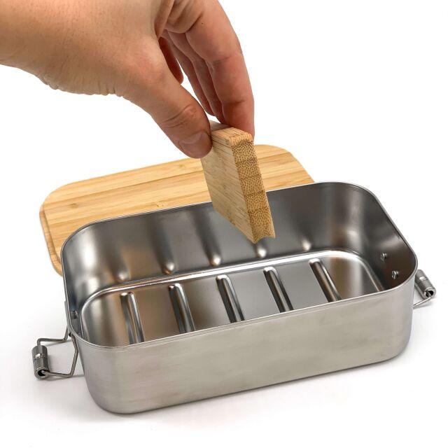 """Lunchbox """"Bergwelt"""" personalisiert für Kinder Brotdose Edelstahl mit Bambusdeckel 1100ml"""