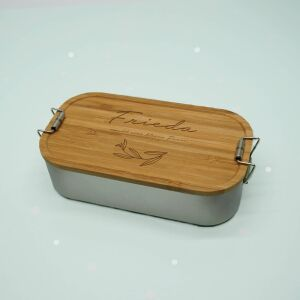 """Lunch box """"Leaves"""" personalized for kids lunch box stainless steel with bamboo lid 1100ml"""