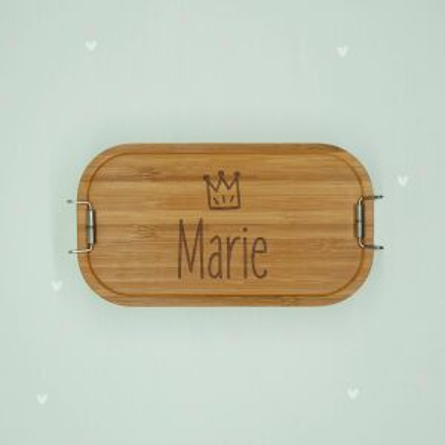 """Lunchbox """"Krone Mädchen"""" personalisiert für Kinder Brotdose Edelstahl mit Bambusdeckel 1100ml"""