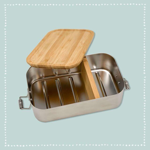 """Lunchbox """"Löwe"""" personalisiert für Kinder Brotdose Edelstahl mit Bambusdeckel 1100ml"""