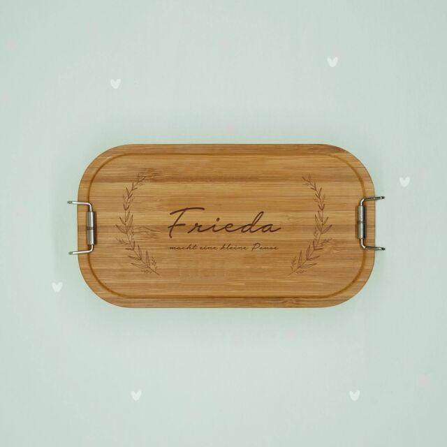 """Lunchbox """"Plant"""" personalisiert für Kinder Brotdose Edelstahl mit Bambusdeckel 1100ml"""