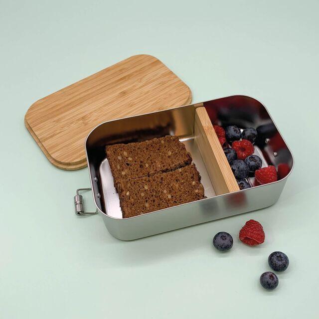 """Lunchbox """"Regenbogen"""" personalisiert für Kinder Brotdose Edelstahl mit Bambusdeckel 1100ml"""