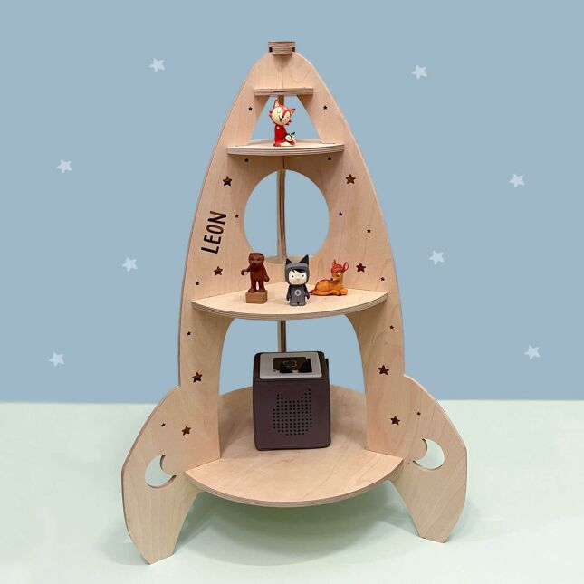 Personalized childrens shelf spaceship suitable for Toniebox and Tonie figures