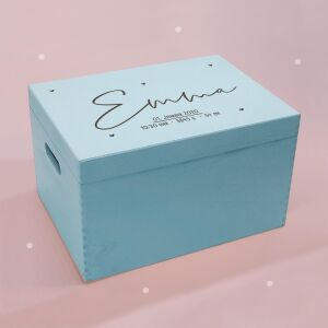"""Memory box light blue """"Heart child"""" personalized for child & baby large (40x30x23 cm) with handle"""