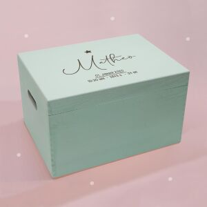 """Memory box mint """"Clean"""" personalized for child & baby large (40x30x23 cm) with handle"""