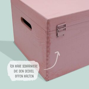 """Memory box old pink """"Clean"""" personalized for child & baby large (40x30x23 cm) with handle"""