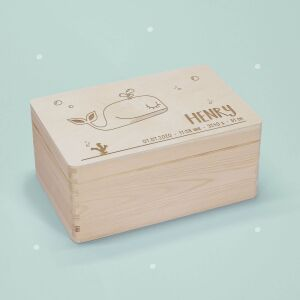 """Memory box """"Whale"""" personalized for child &..."""