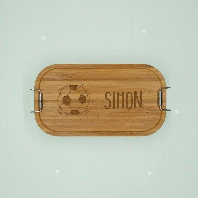 """Lunchbox """"Fußball"""" personalisiert für Kinder Brotdose Metalldose mit Bambusdeckel 750ml"""
