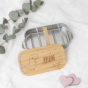 """Lunch box """"Dino"""" personalized for children lunch box metal box with bamboo lid 750ml"""