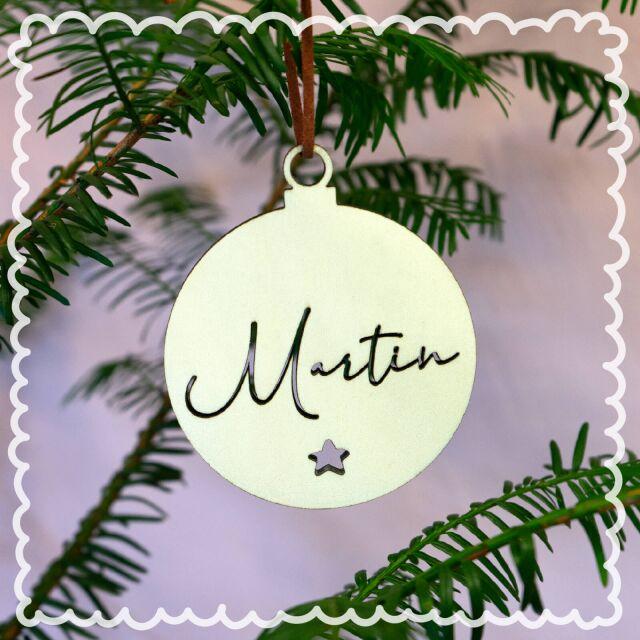 """Weihnachtskugel """"Clean"""" personalisiert mit Deinen Wunschnamen 4er Set"""