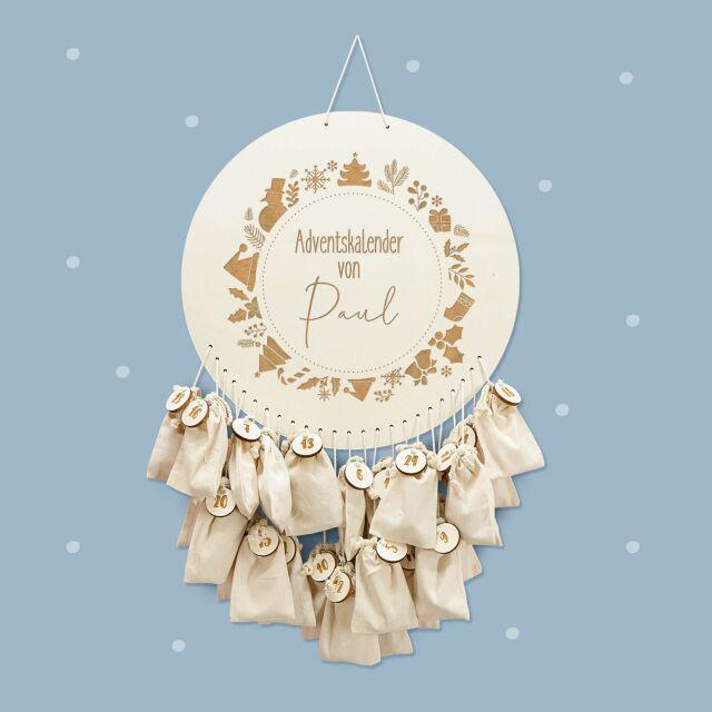 "Advent calendar ""Christmas wreath"" personalized..."