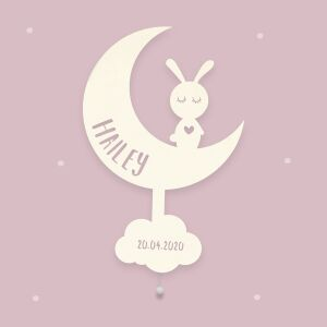 """Nachtlicht """"Mona der Mond"""" personalisiert für Baby und Kind"""